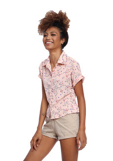 Floral Printed Button Down with Extended Sleeves by Glamour Studio