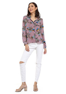 Printed Long Sleeve Button Down Shirt by Glamour Studio