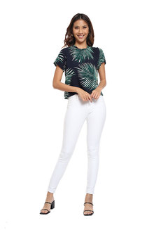 Tropical Printed Top with Side Button Detail by Glamour Studio