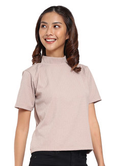 Ribbed Mock Neck Top by Glamour Studio