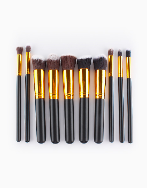 10-Piece Plain Brush Set by Mermaid Dreams | Black and Gold