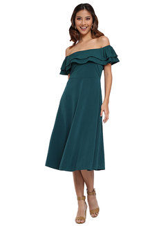 Green Off Shoulder Dress by Pink Lemon Wear