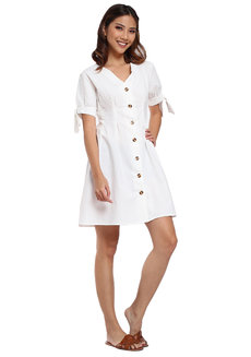 Janella White Linen Dress by Pink Lemon Wear