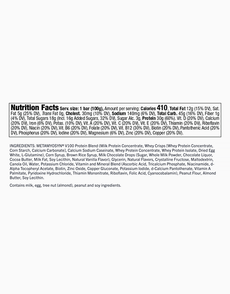 Chocolate Chip Cookie Dough Meal Replacement Bar (100g) by MET-Rx
