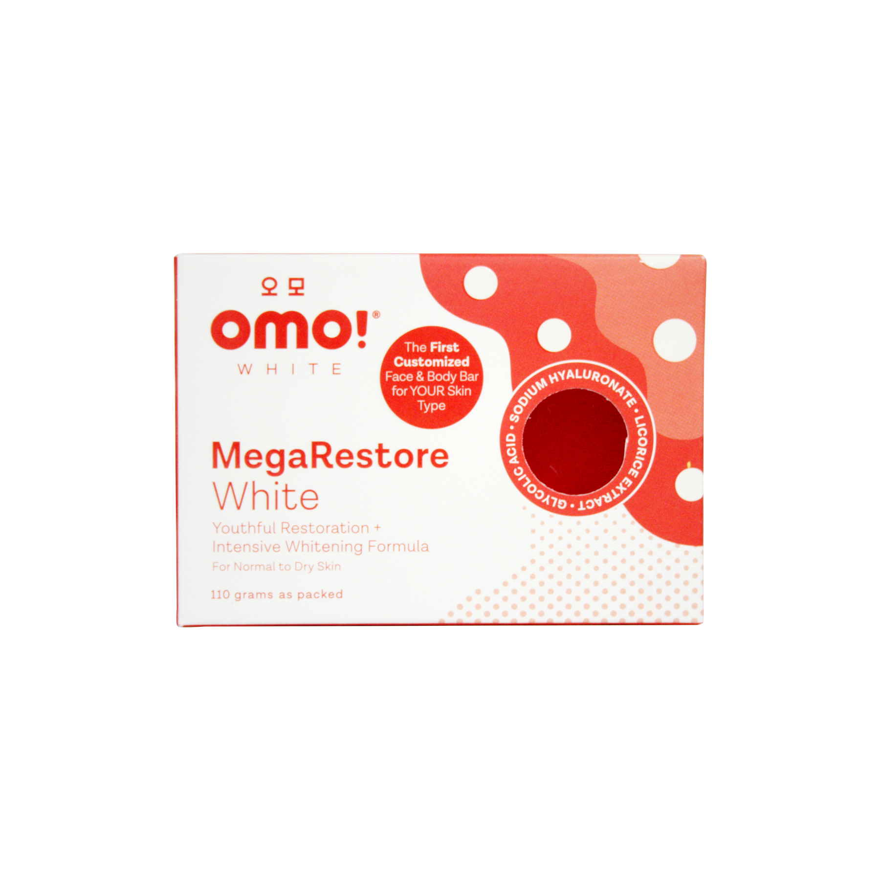 White MegaRestore Anti-Aging + Intensive Whitening Formula Face & Body Soap (110g) by OMO! White