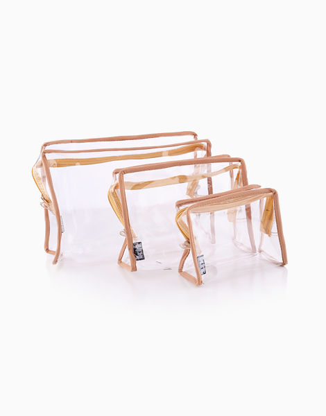 Clear Square Pouch Set by Keeping It Together | Tan