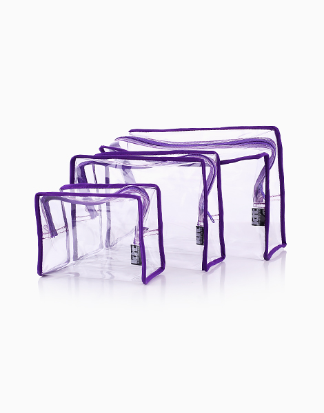 Clear Square Pouch Set by Keeping It Together | Purple