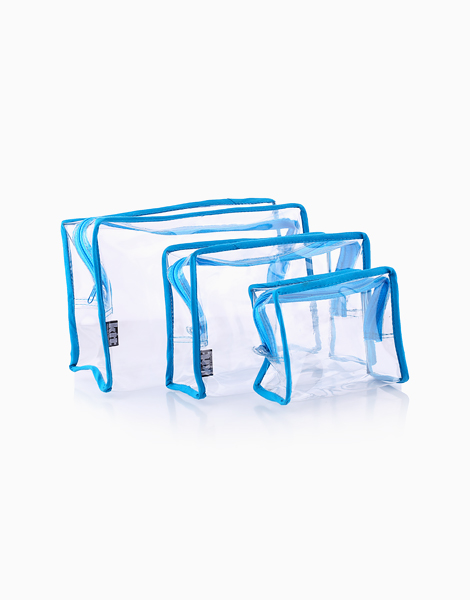 Clear Square Pouch Set by Keeping It Together | Light Blue