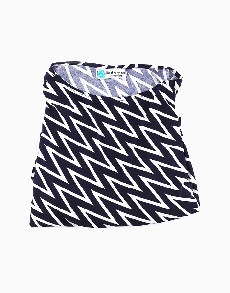 Nursing Poncho by Next9 | Black and White Zigzag