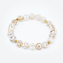 White Tibetan Agate Natural Gemstone Bracelet by Stones for the Soul