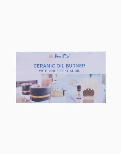 Ceramic Oil Burner With 18ml Peppermint Essential Oil Bundle by Pure Bliss
