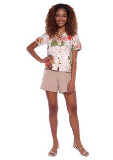 Tropical Printed Resort Shirt with Tie Detail by Glamour Studio