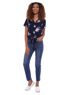 Floral Short Sleeve Top with Tie Detail by Glamour Studio