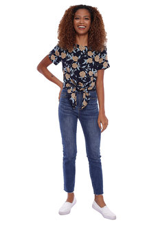 Floral Short Sleeve Blouse with Tie Detail by Glamour Studio