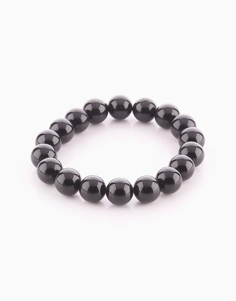 Black Tourmaline Bracelet (10mm Bead Size) by Cosmos MNL   Large (16cm)