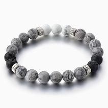 White Turquoise & Grey Jasper Diffuser Bracelet by Stones for the Soul