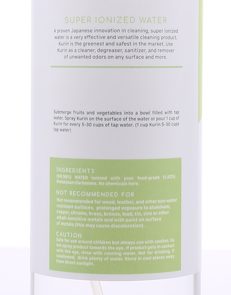 Fruits and Vegetables Super Ionized Water (500ml) by Kurin