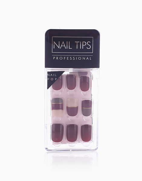 Press On Gel Nails (30 Tips) by Nail Pops | Geometric Burgundy