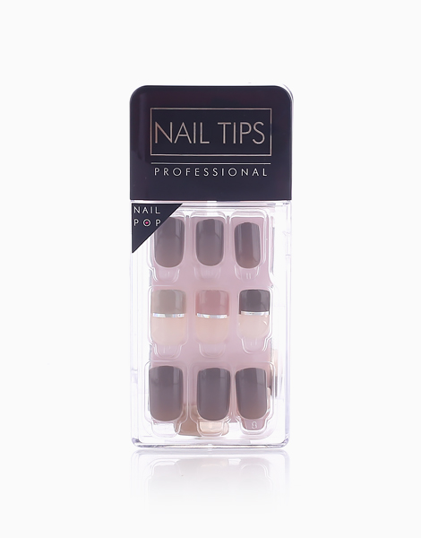 Press On Gel Nails (30 Tips) by Nail Pops | Geometric Grey