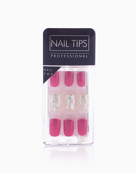 Press On Gel Nails Glass (30 Tips) by Nail Pops   Fuchsia and Glass