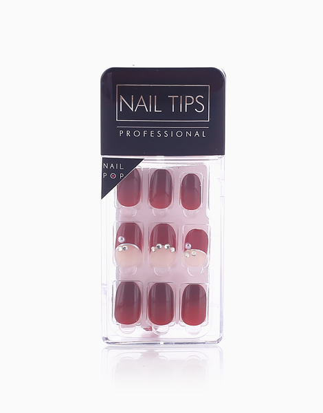 Press On Gel Nails (30 Tips) by Nail Pops | Maroon + Diamonds
