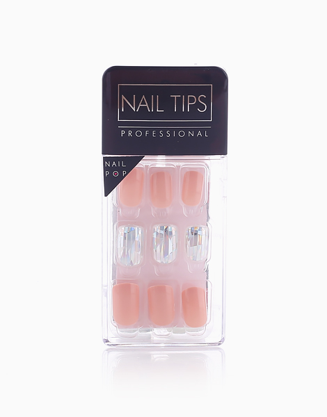 Press On Gel Nails Glass (30 Tips) by Nail Pops   Baby Nude and Glass