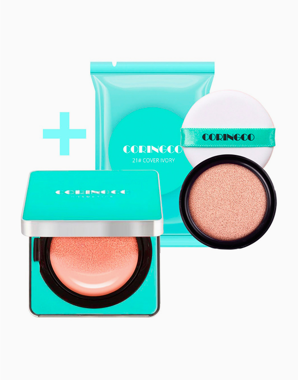 Mint Blossom Cover BB Cushion SPF50+ PA+++ With Refill by Coringco | #21 Cover Ivory