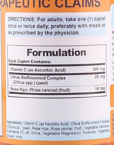 Vitamin C + Citrus Bioflavonoids & Rose Hips 500mg (100 Caplets) by Puritan's Pride