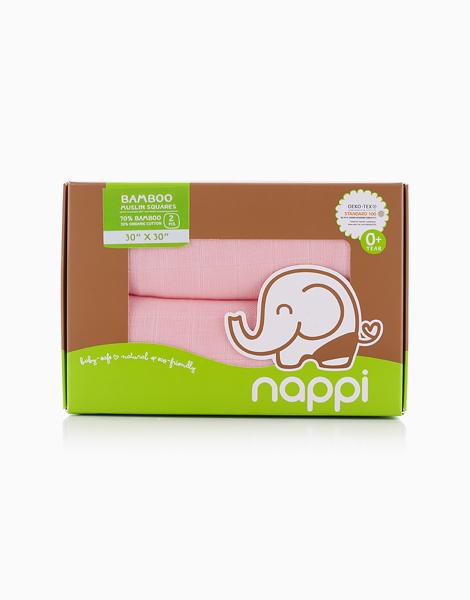 "Bamboo Muslin Squares (2/30"") by Nappi Baby PH | Soft Pink"