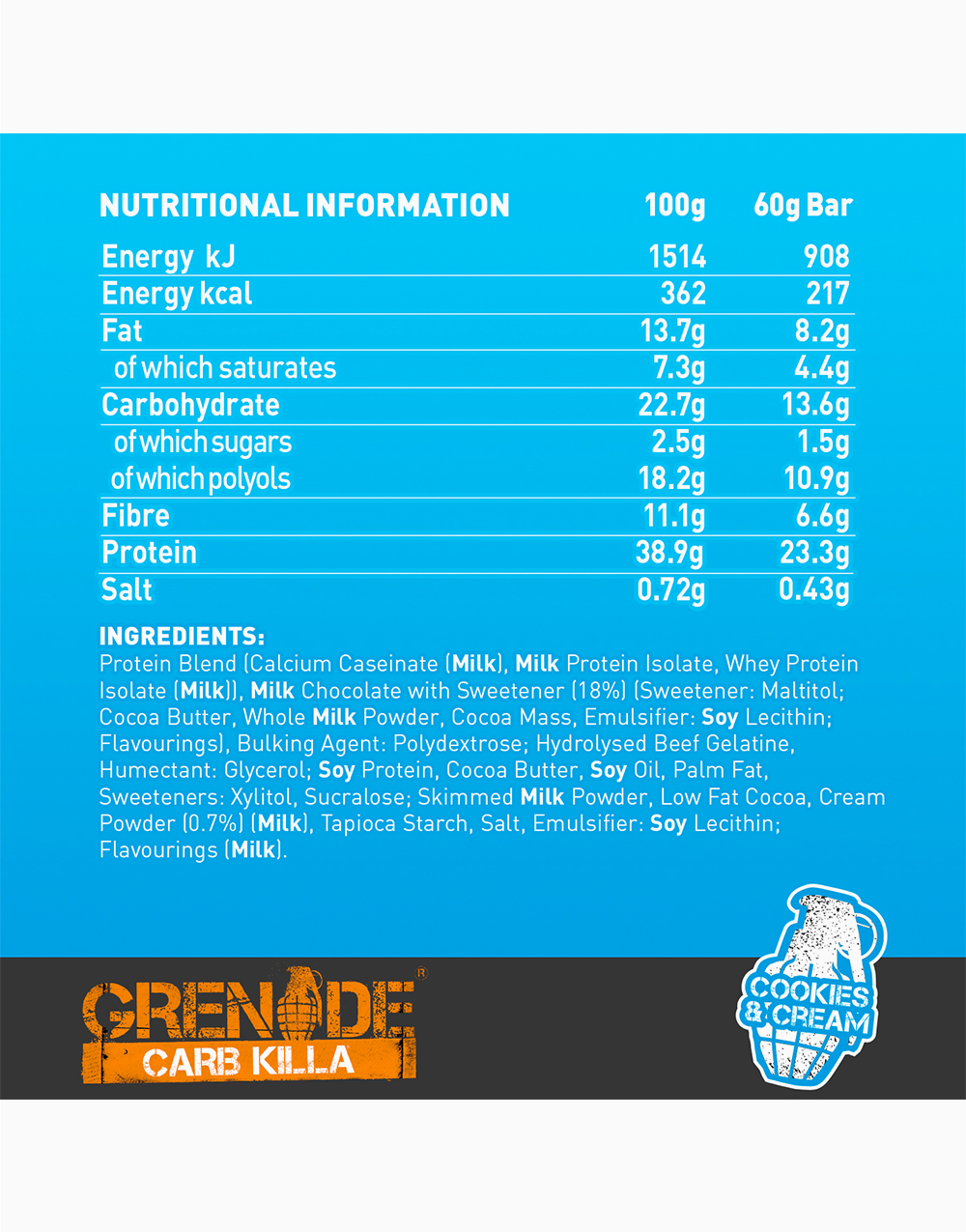 Carb Killa Protein Bar in Cookies & Cream by Grenade