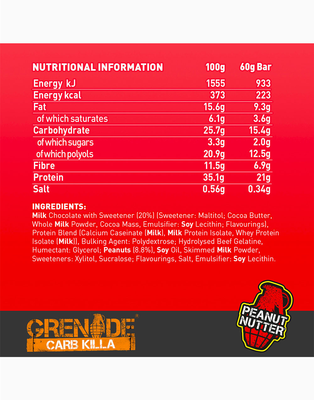 Carb Killa Protein Bar in Peanut Nutter by Grenade