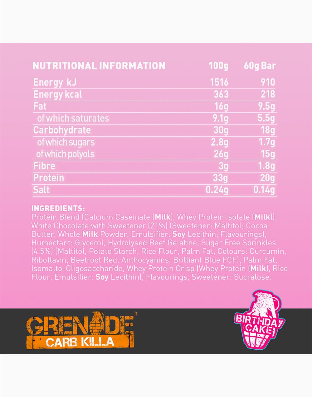 Carb Killa Protein Bar in Birthday Cake by Grenade