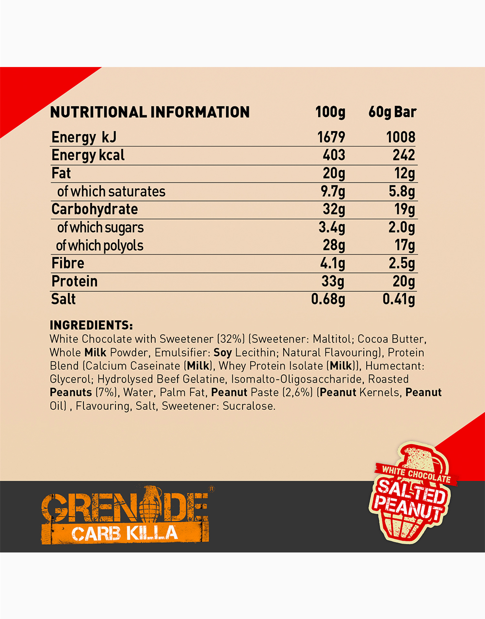 Carb Killa Protein Bar in White Chocolate Salted Peanut by Grenade