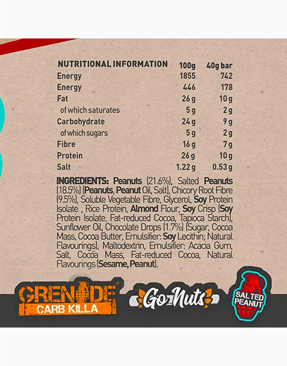 Go Nuts Vegan Nut Bar in Salted Peanut by Grenade