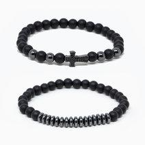 True Potential Black Onyx + Hematite Crystal Bracelets (Set of 2) by The Calm Chakra