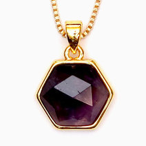Crystal beauty amethyst hexagon copper plated pendant 2