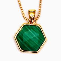 Crystal beauty malachite hexagon copper plated pendant 2