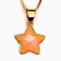 Crystal beauty rose quartz copper plated star pendant 2