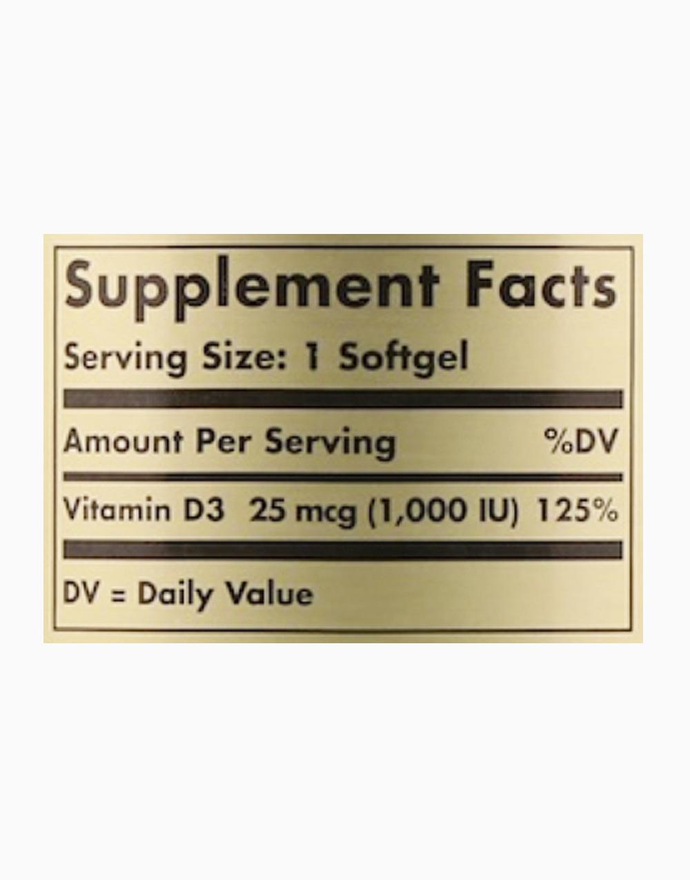 Vitamin D3 Cholecalciferol 25mcg (250 Softgels) by Solgar