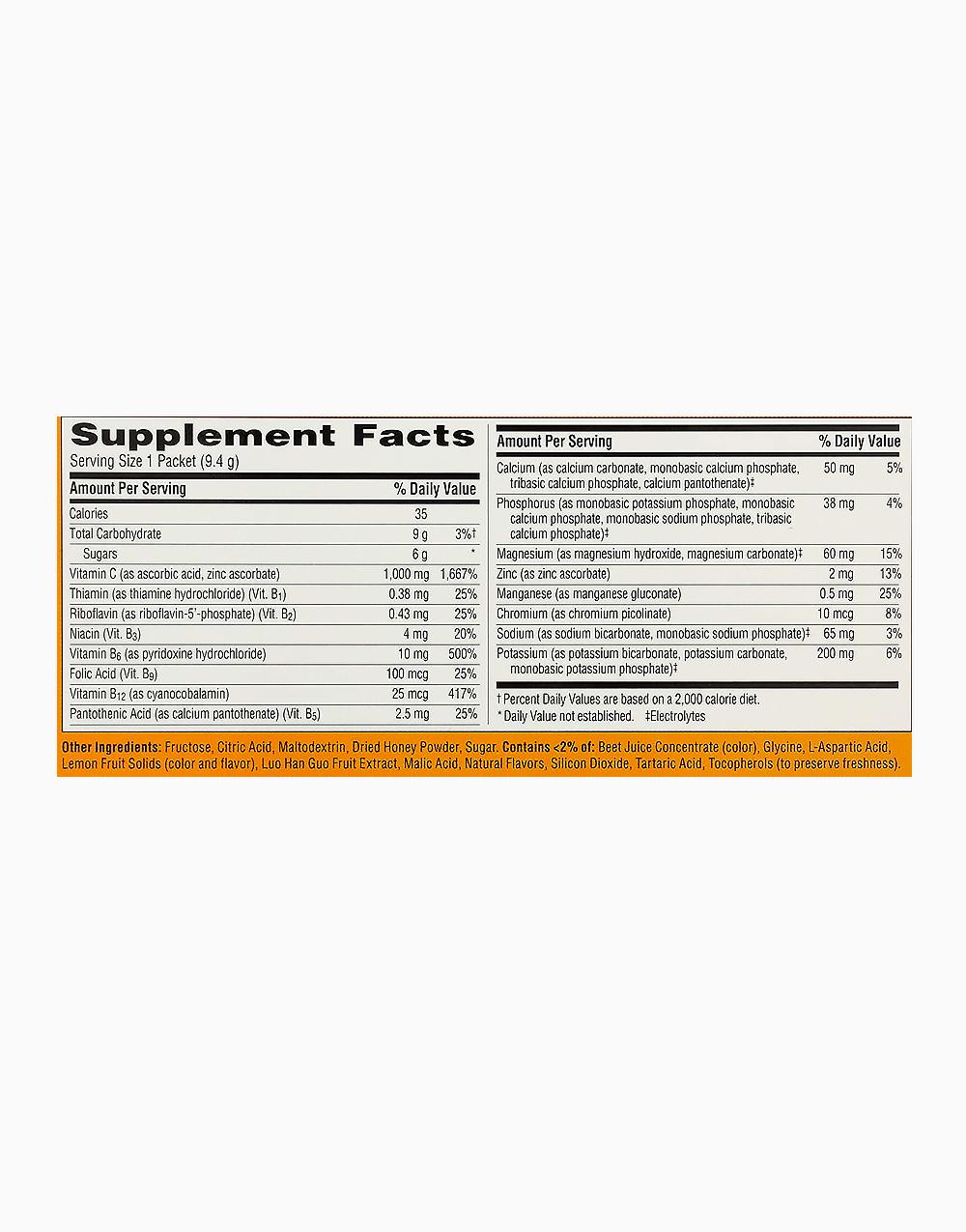 Pink Lemonade Flavor Dietary Supplement Fizzy Drink Mix with 1000mg Vitamin C (1 Sachet) by Emergen-C
