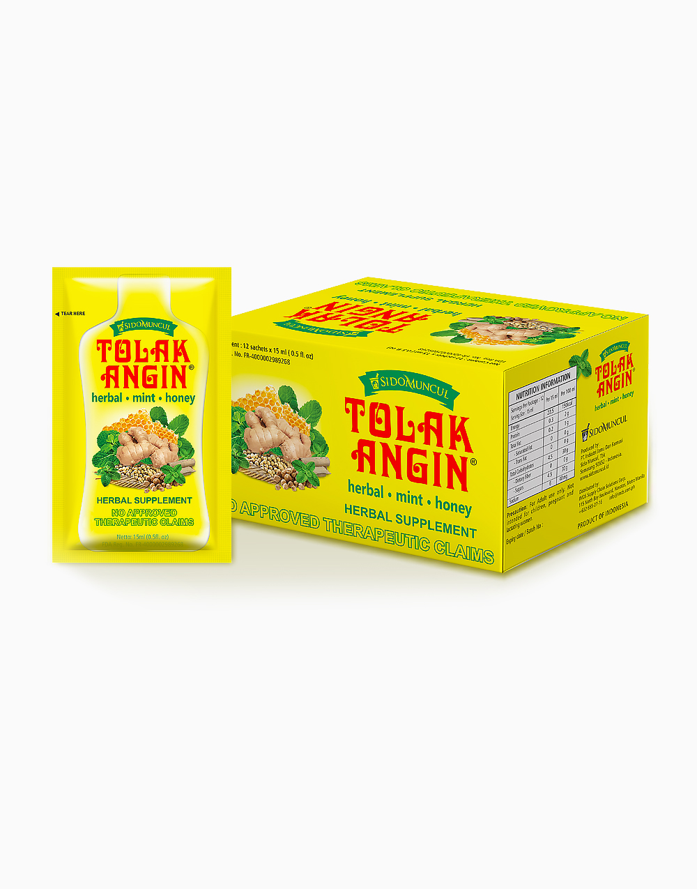 Tolak Angin Herbal Supplement with Honey and Mint (1 Box, 12 Sachets) by Tolak Angin