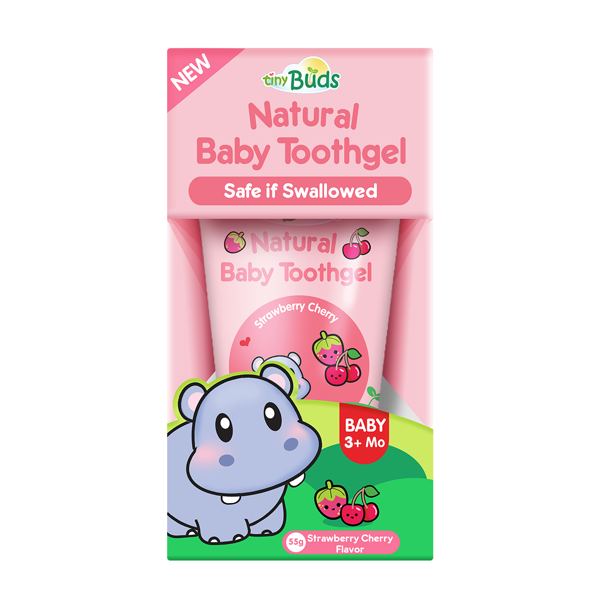 Natural Teething Gel Stage 1 by Tiny Buds | Strawberry Cherry