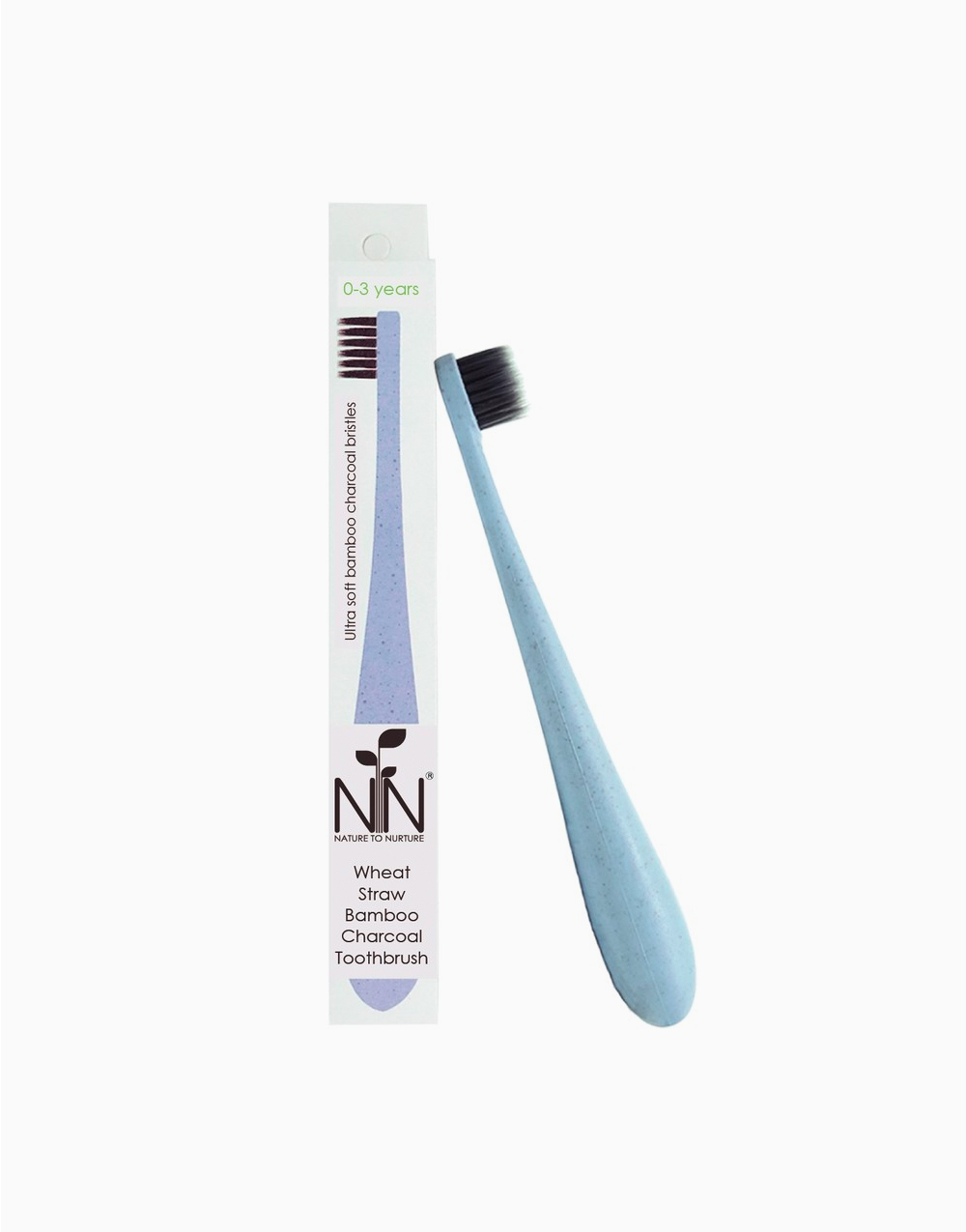 Wheat Straw Bamboo Charcoal Toothbrush, 0 months - 3 years by Nature to Nurture | Blue