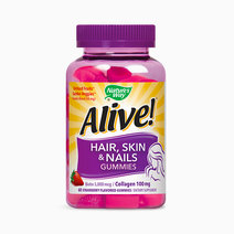 Alive! Hair, Skin & Nail Advanced Beauty Formula Gummy (60 Strawberry Flavored Gummies) by Nature's Way