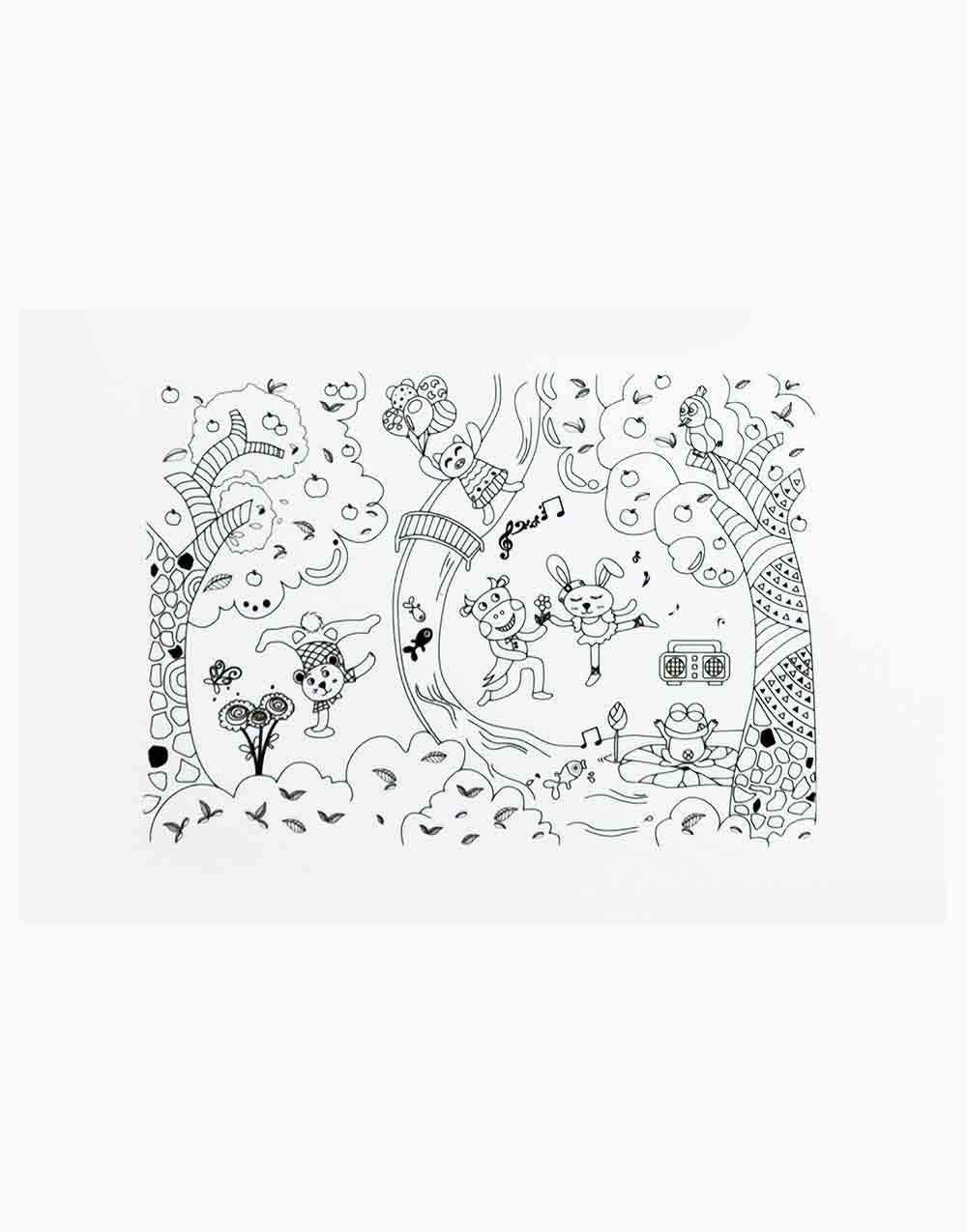 New Reusable Coloring Placemat by Mombella   Forest Party