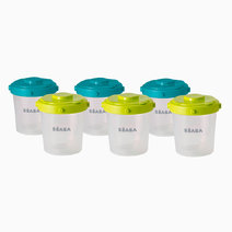 Beaba set of 6 clip portions   2nd age   200 ml %28blue neon%29