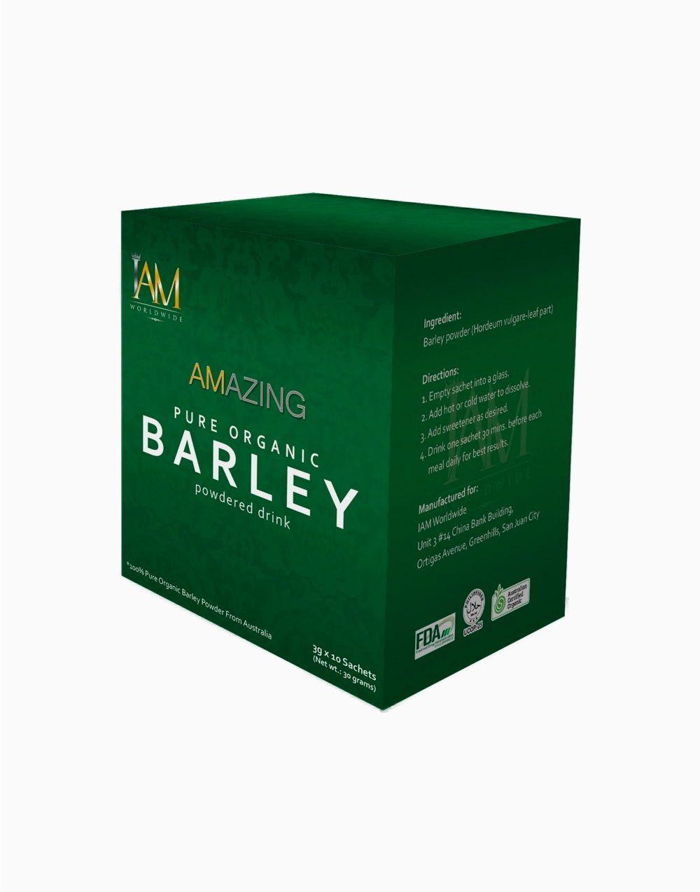 Pure Organic Barley Powdered Drink (10 Sachets) by iAMWorldwide
