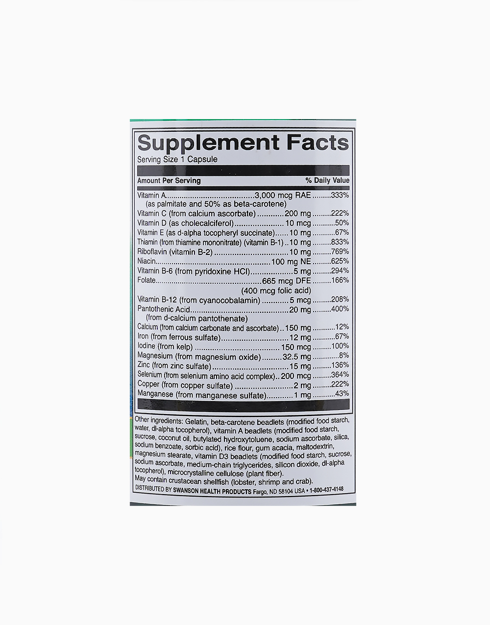 Multivitamin and Mineral (100 Caps) by Swanson