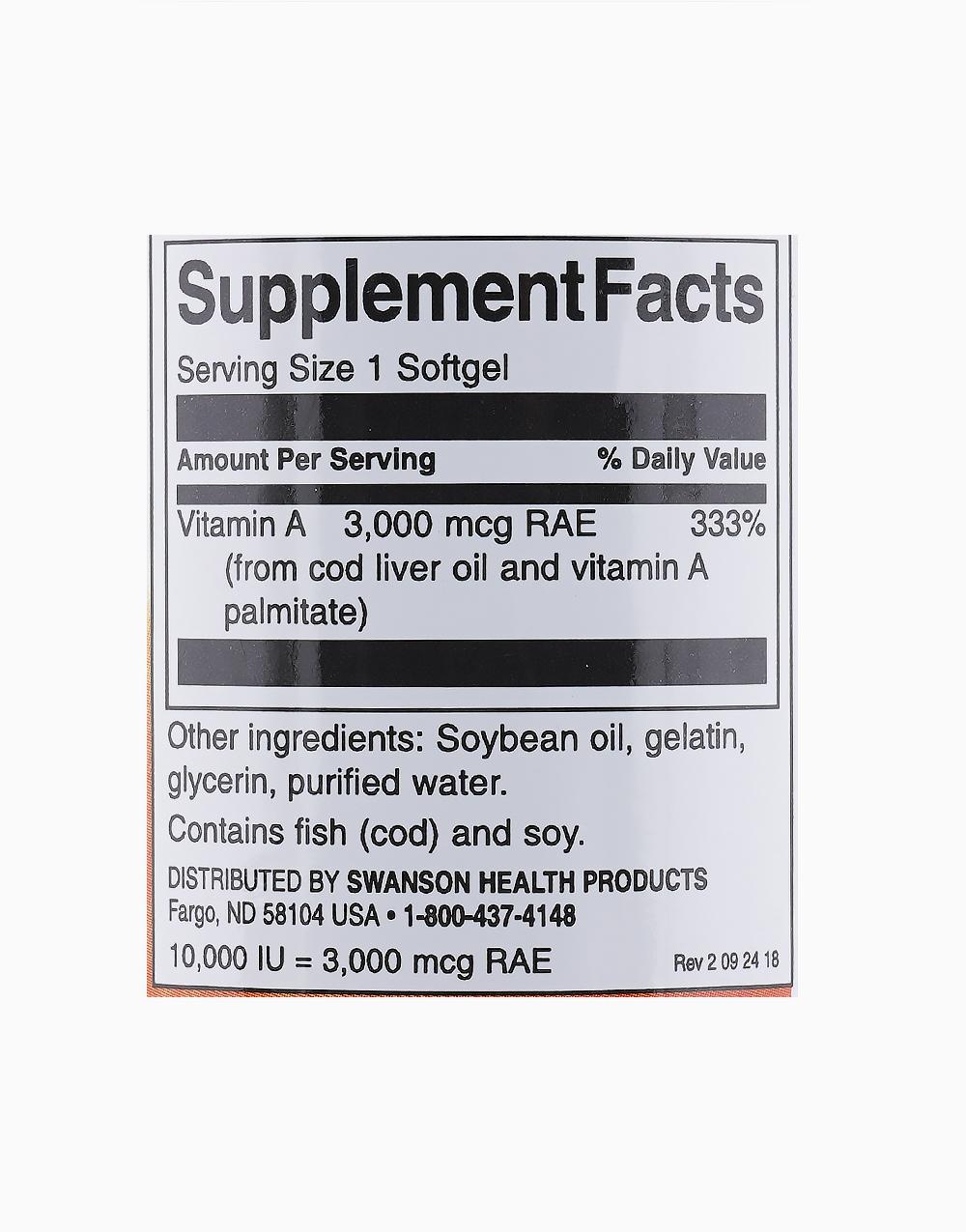 Vitamin A 10,000IU (250 Softgels) by Swanson