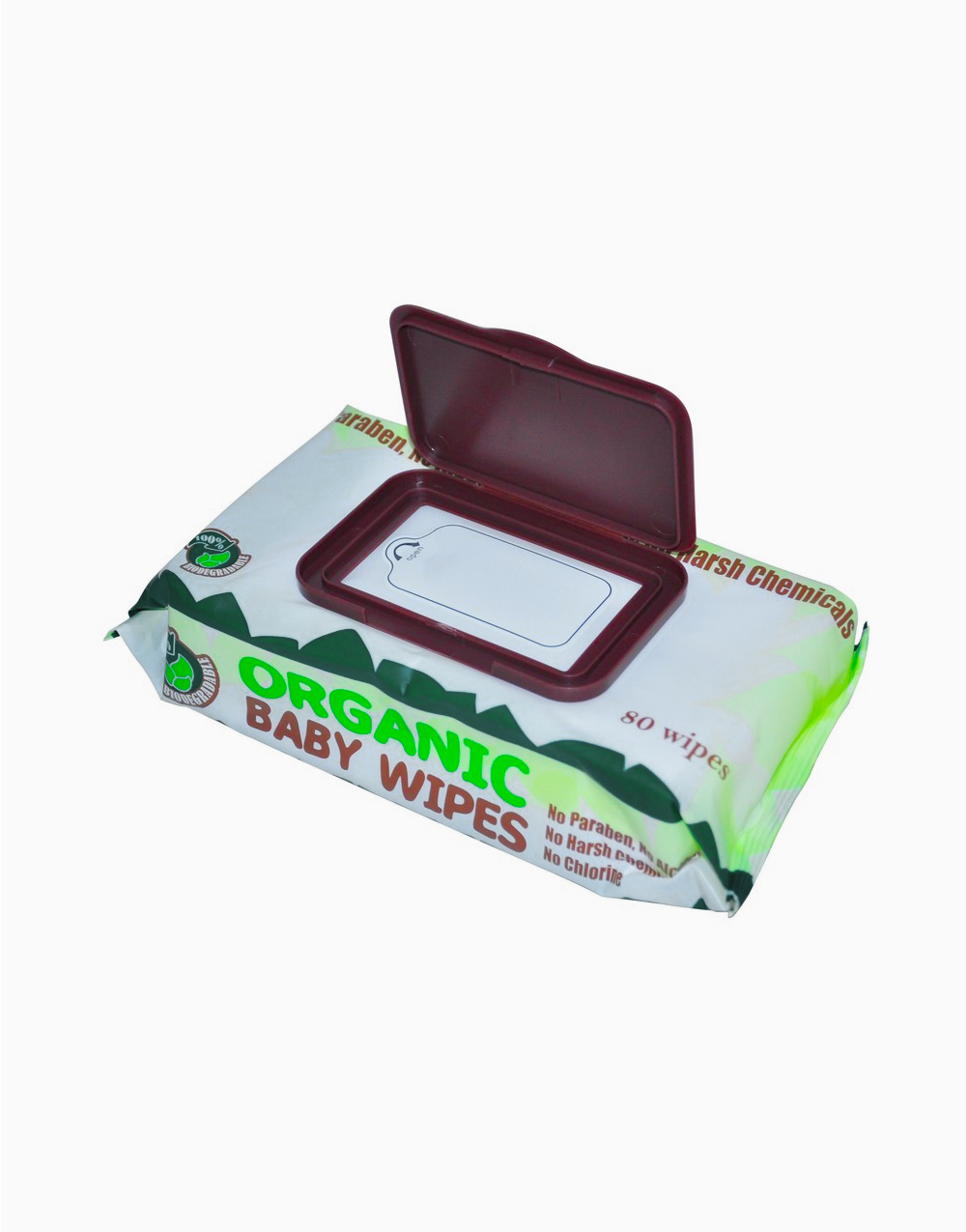 Organic Baby Wipes With Cap 80s (Pack of 6) by Organic Baby Wipes